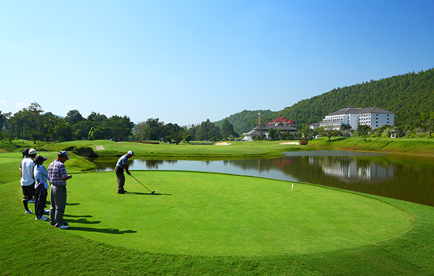 teeing off, alpine golf club, chiang mai, thailand